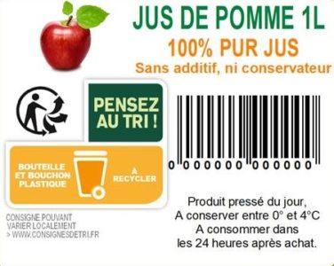 étiquette jus de pomme